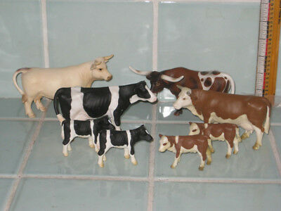 """8 Schleich Germany Cow Cattle Steer 1999 2000 2002 2005 Sizes  5.25"""" & 2.75"""""""