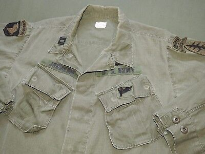 US Army Vietnam SPECIAL FORCES + 101ST AIRBORNE OFFICER BADGED JUNGLE JACKET '69