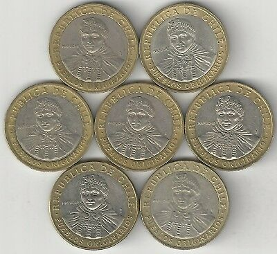 7 BI-METAL 100 PESO COINS from CHILE (2001, 2005, 2006, 2008, 2010, 2012 & 2015)
