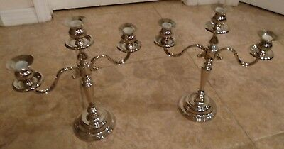 Pair of Large Vintage Silverplate 3 Arm Candelabra