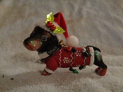 Playful Dachshund All Tangled In Lights  Christmas Ornament - Cute! Nwt