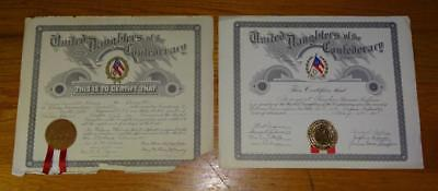 """2 ~ 1918 & 1941 """"UNITED DAUGHTERS of the CONFEDERACY"""" MEMBERSHIP CERTIFICATES"""