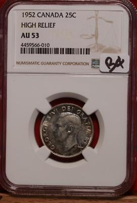 1952 Canada 25 Cents Silver Coin High Relief NGC Graded AU 53