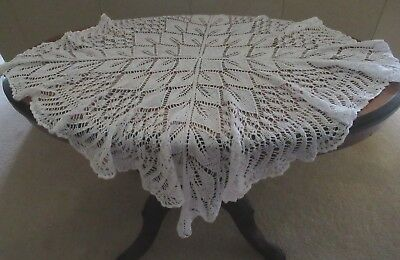Vintage WHITE COTTON KNITTED TABLECLOTH for small table, antique style, VGC