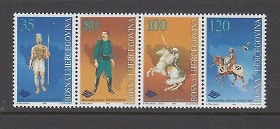 Bosnia Herzegovina 1996 Old Military Uniforms Mint unhinged strip 4 stamps