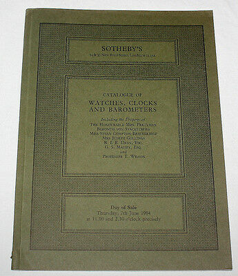 Sotheby's Auction Catalogue Watches, Clocks & Barometers London 7 June 1984