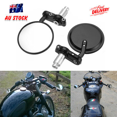 "Pair Universal 7/8"" Motorcycle Bike Bar End 3"" Rear Side View Mirrors Racer AU"