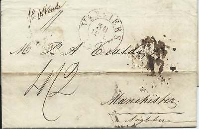 Belgium 1836 4/2 Entire from Verviers to Manchester via Ostende & London