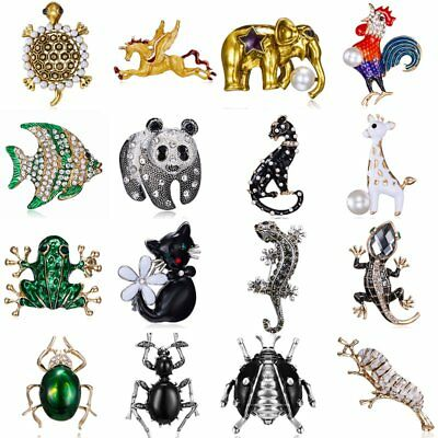 Fashion Brooch Pin Collar Cat Horse Fish Elephant Crystal Pearl Women Jewelry