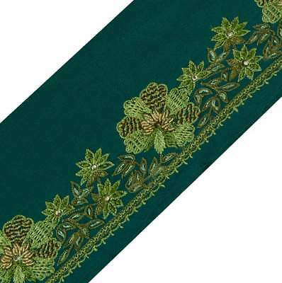 Antique Vintage Sari Border Indian Craft Trim Hand Embroidered Green Lace Ribbon