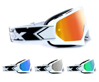 TWO-X Race MX Crossbrille Enduro DH Brille Motocross verspiegelt Solid weiss