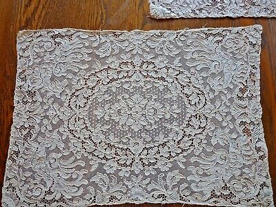 LERON FRANCE Alecon LACE Place Mats Original Box 1920's Antique Wedding Ecru Set