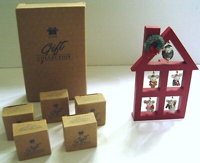 "5 ORNAMENT AVON SET 1988 ""A MERRY LITTLE CHRISTMAS"" w/ DISPLAY STAND - All MIB"