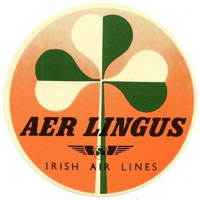 Vintage Aer Lingus Irish International Airlines Luggage Label Ireland Shamrock