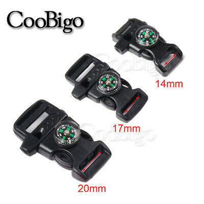 5x Compass Whistle Release Buckle Paracord Bracelet Outdoor Emergency Survival