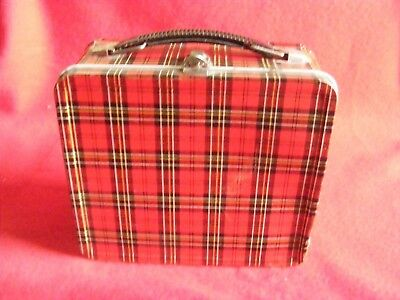 Vintage Aladdin Metal PLAID Lunh Box with Thermos, USED