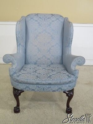 44662EC: KINDEL Winterthur Claw Foot Mahogany Chippendale Style Wing Chair