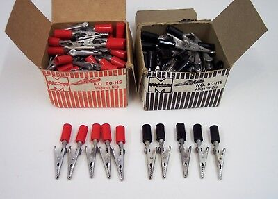 12 NEW VINTAGE ( # 60 HS ) MUELLER ALLIGATOR CLIP-6 each RED & BLACK-Made IN USA