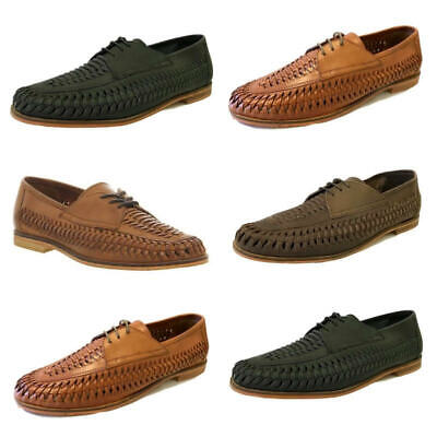 Mens Brixton Leather Slip On Loafers Boat Summer Woven Smart Formal Boat Shoes