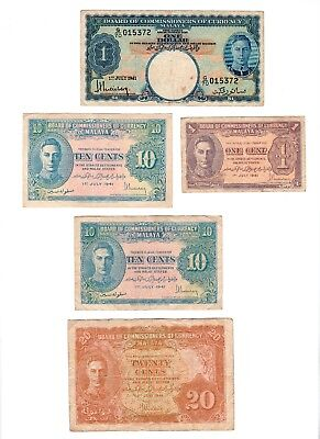 Board Of Commissioners Of Currency Malaya 1941 Banknotes 1 5 10 Cents One Dollar