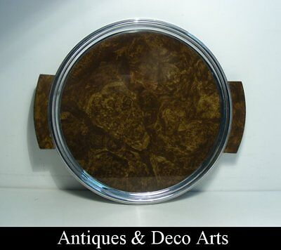 Art Deco Chrome-plated Metal, Wood and Glass Server Tray