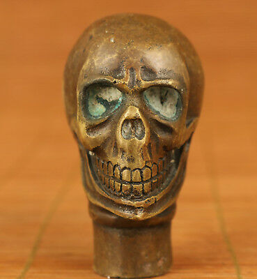 Cool Chinese Old Bronze Handmade Carved Skull Statue Cane Walking stick head
