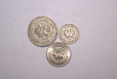 3 DIFFERENT COINS from GHANA - 5, 10 & 20 PESEWAS (ALL DATING 1967)