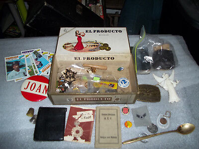 Junk Drawer Lot Of Old Advertising Other Pieces In Vintage Cigar Box