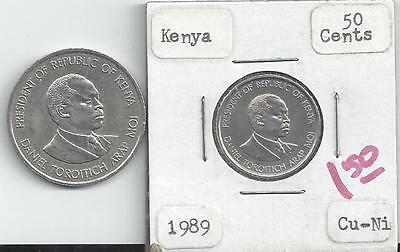 2 DIFFERENT COINS from KENYA - 50 CENTS & 1 SHILLING (BOTH DATING 1989)