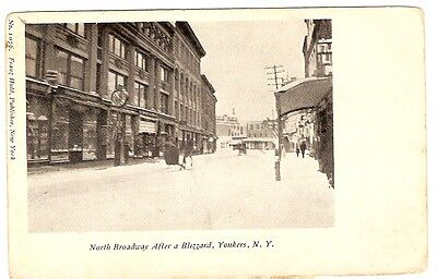 Postcard Yonkers. Um 1905.Broadway after Blizzard. New York USA.