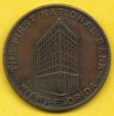 1922 Miami Fl Pictorial Token, The First National Bank 20Th Anniversary Souvenir