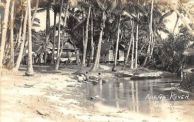 E8/ GUAM Foreign Postcard Real Photo RPPC Natives Huts South Pacific c1920