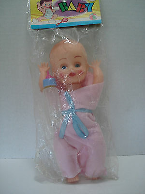 "Plastic Baby Doll Tall 8"" With Accessories Mint In Seal Bag Made In Hong Kong"