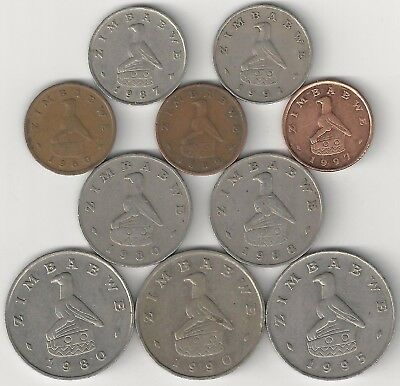 10 DIFFERENT COINS from ZIMBABWE (4 DENOMINATIONS)