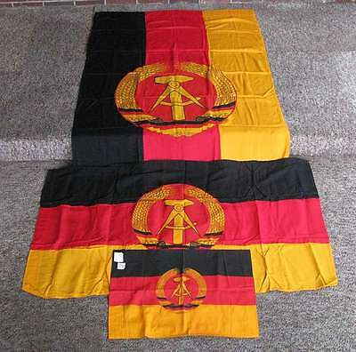 6' COLD WAR ERA DDR BANNER + 2 FLAGS UNUSED FOLDED ORIGINALS NEW W/ TAGS 1960's