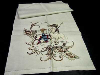 Fantastic Antique Embroidered Linen Towel Museum Quality Victorian Boys & Goat