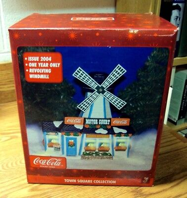 2004 COCA-COLA Town Square Collection ~ MOTOR COURT Revolving Windmill ~ LED