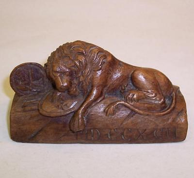 Antique MINIATURE Carved Wood LION of LUCERNE 1792 French Revolution FIGURE