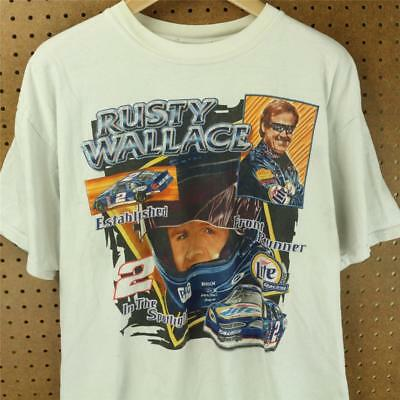 vtg faded & distressed RUSTY WALLACE t-shirt XL nascar 90s 00s miller lite