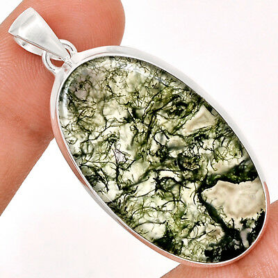 13g Moss Agate 925 Sterling Silver Pendant Jewelry MOSP707