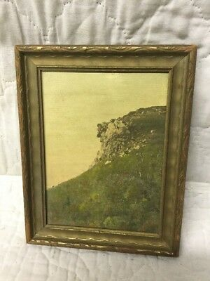 Rare Antique Hand Colored Photo J C Bicknell Old Man Of The Mountains Profile