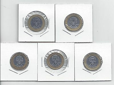 From Show Inv. - 5 NICE BI-METAL 5P COINS.DOMINICAN REPUBLIC.1997/2002/05/07/08