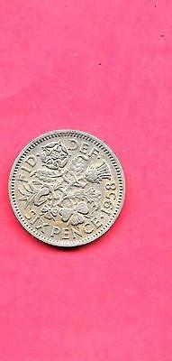 Great Britain Gb Uk 6 Pence Km903 1958 Vf-Very Fine-Nice Old Vintage Coin