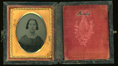 """Ambrotype -  Woman In Intact Early Case - Image Inset Size - 1 3/8"""" X 1 5/8"""""""