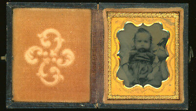 """Ambrotype -  Baby In Intact Case - Image Inset Size - 1 3/8"""" X 1 5/8"""""""