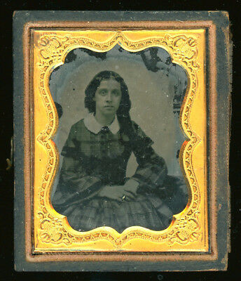 """Ambrotype - Women W/ Tinted Ring - Half Of A Case - Image Inset Size - 2""""x2 1/2"""""""