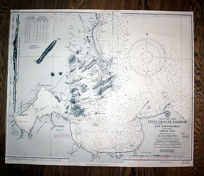 1914 Ceylon East Trincomalee Harbor Sri Lanka Great Bay admirality map