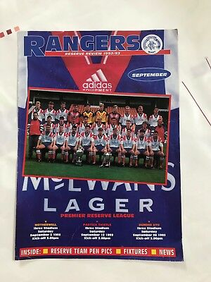 Rangers v Dundee Utd 1992 Partick + Motherwell Reserves Programme Official