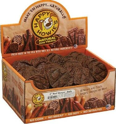 """60 Count Happy Howies 4"""" REAL BEEF BURGERS Natural USA Dog Treats Chews"""