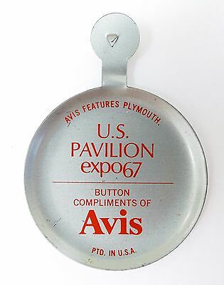 Rare 1967 Montreal Exp Fold Over Button - Avis Features Plymouth - Us Pavillion